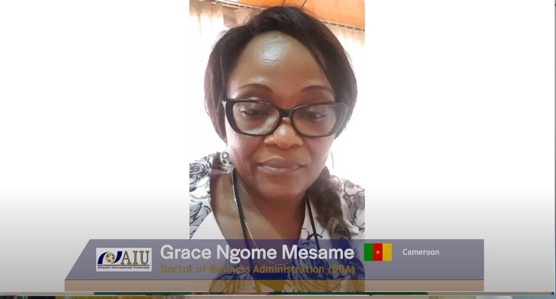 NGOME GRACE MESAME Graduating Atlantic International University Student Interview of 2020